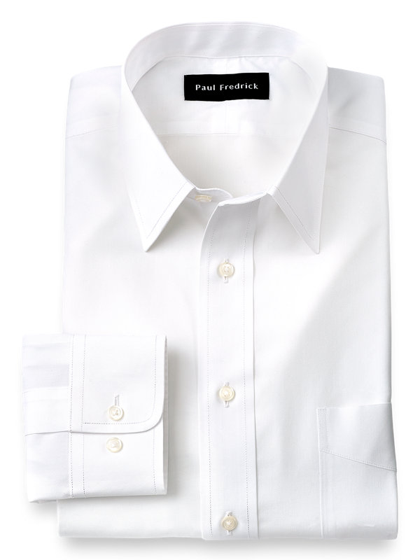 Slim Fit Supima Non-Iron Cotton Solid Color Straight Collar Dress Shirt