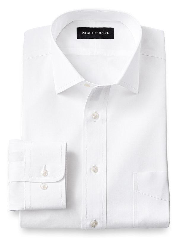 Slim Fit Supima Non-Iron Cotton Solid Color Spread Collar Dress Shirt