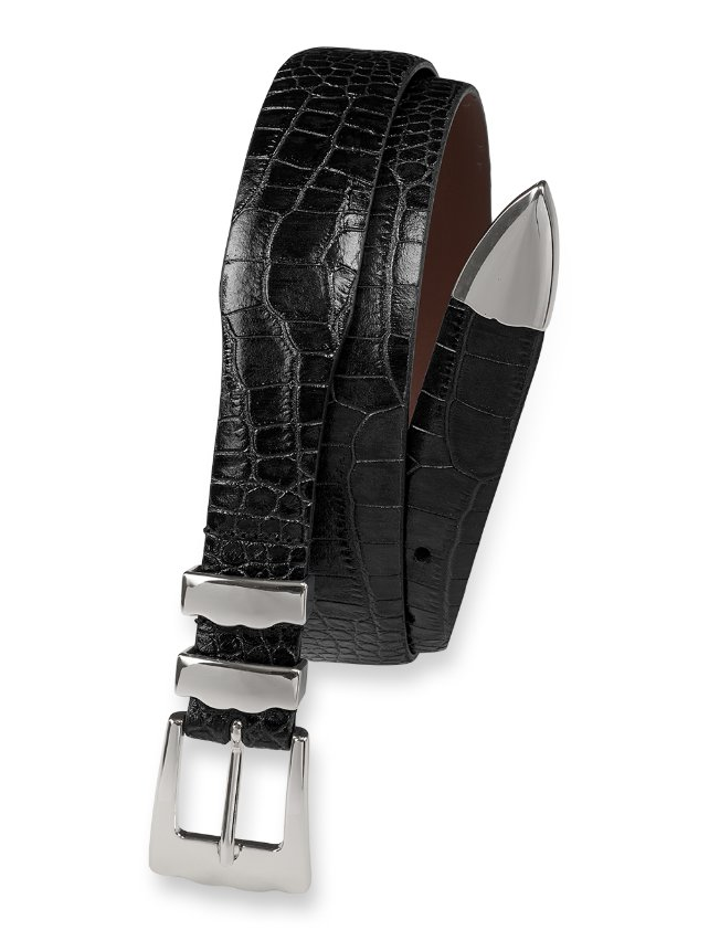 Crocodile Emboosed Calfskin Leather Belt with Metal Keeper & Tip