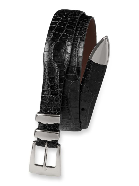 Crocodile Embossed Calfskin Leather Belt with Metal Keeper & Tip