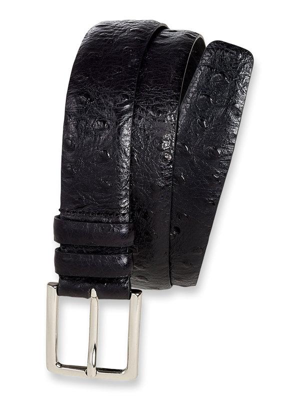 Italian Ostrich Embossed Calfskin Leather Belt