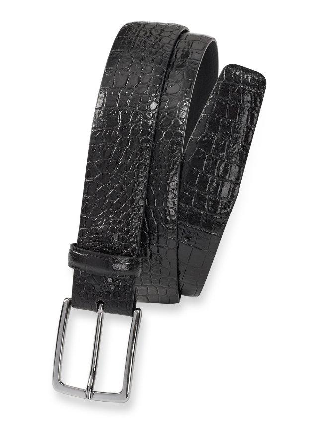 Italian Crocodile Embossed Calfskin Leather Belt