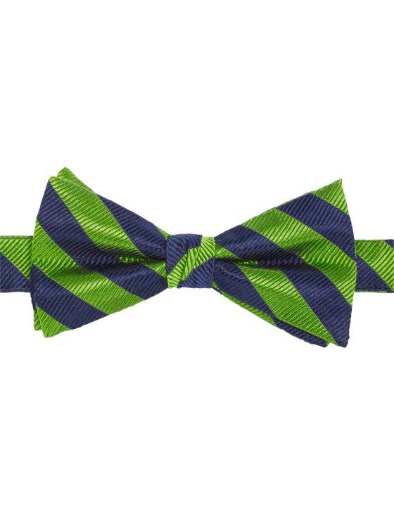 Stripe Pre-Tied Silk Bow Tie
