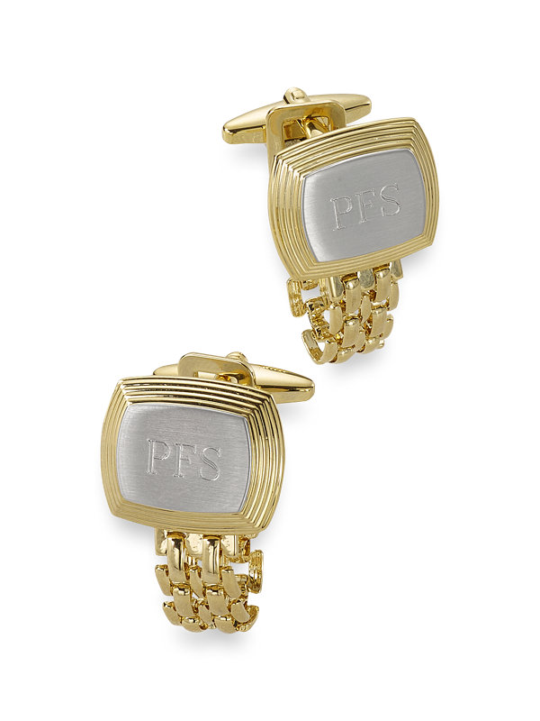 Rectangle Chain Wrap With Brush Center Engraveable Cufflink