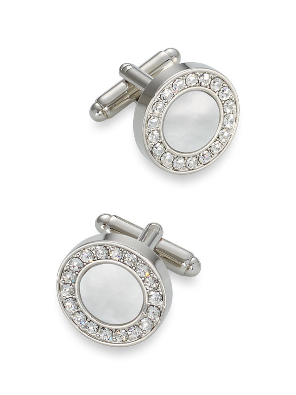 Mother of Pearl & Crystal Round Cufflinks