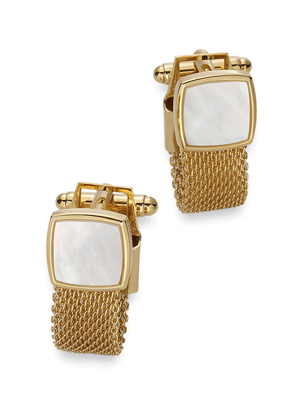 Mother of Pearl Mesh Wrap Cufflinks