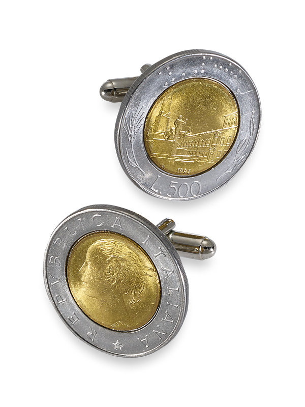 Genuine Italian 500 Lire Coin Cufflinks