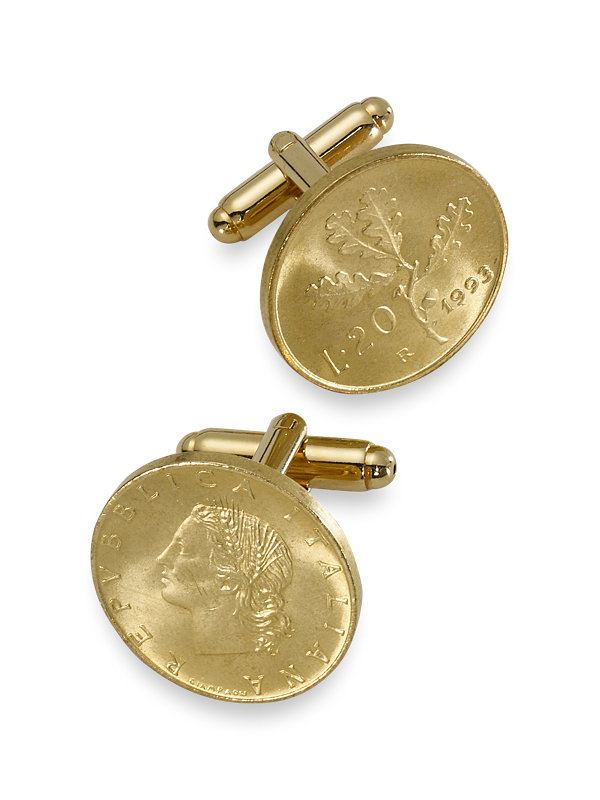 Genuine Italian 20 Lire Coin Cufflinks