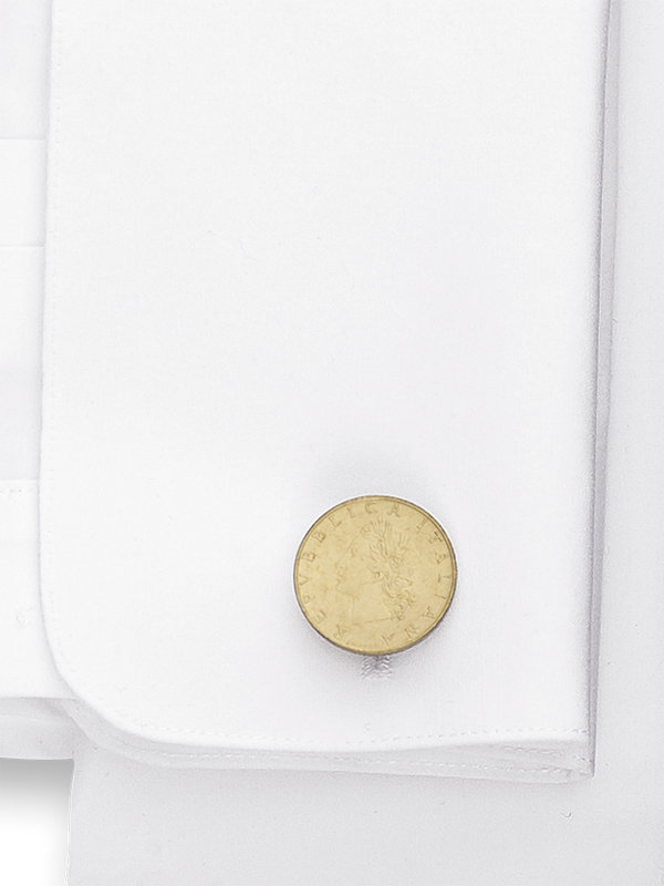Genuine Italian 20 Lire Coin Cufflinks