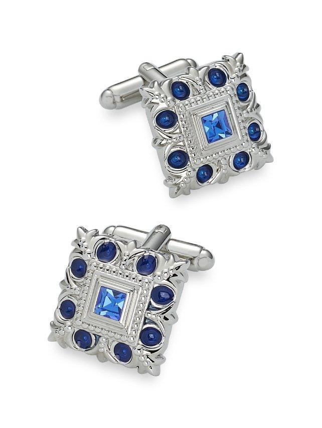 Swarovski Crystal & Enamel Studded Square Cufflinks
