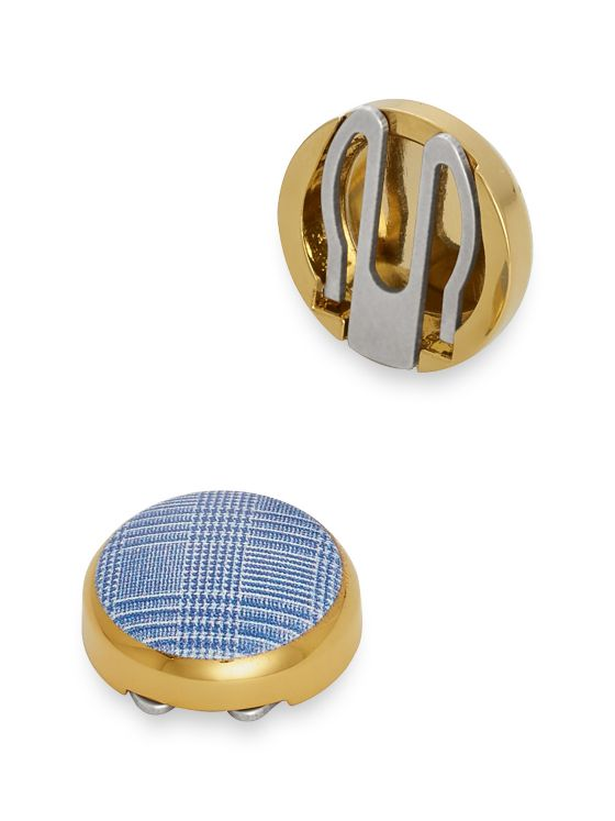 Plaid Enamel Circle Button Cover