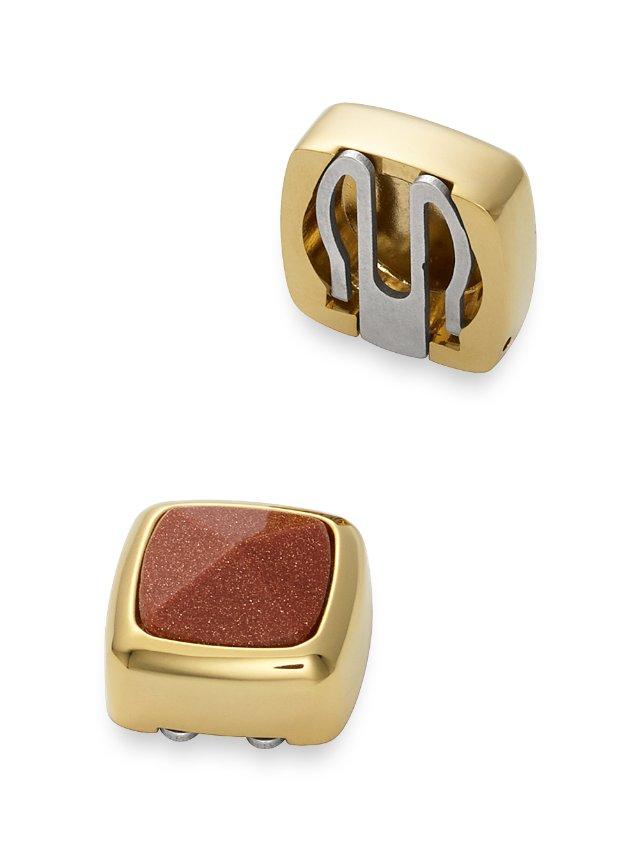 Brown Goldstone Square Button Cover