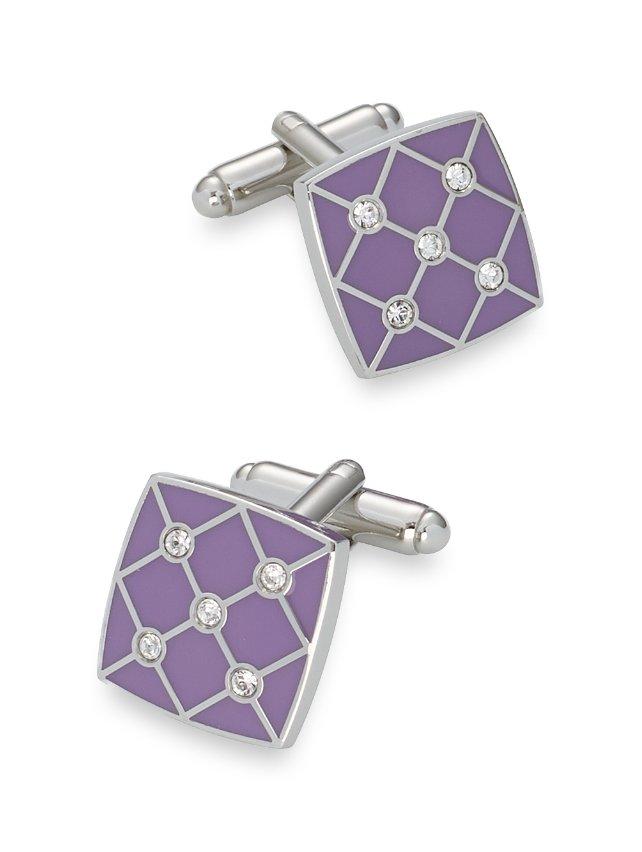 Swarovski Crystal & Enamel Lattice Square Cufflinks