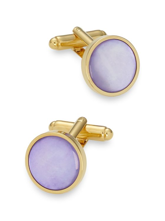 Dyed Mother-Of-Pearl Circle Cufflinks