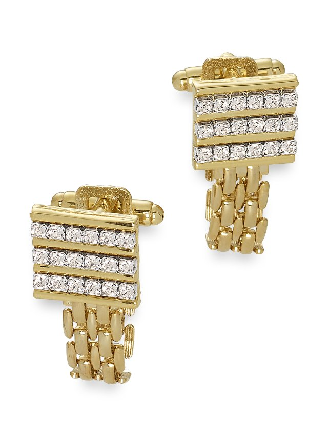 Swarovski Crystal Rectangle With Removable Chain Wrap Cufflinks
