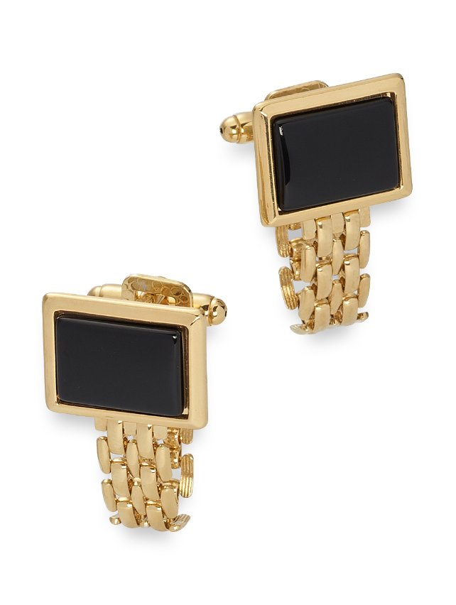 Onyx Rectangle With Removable Chain Wrap Cufflinks