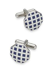 Enamel Hexagon Basketweave Cufflinks