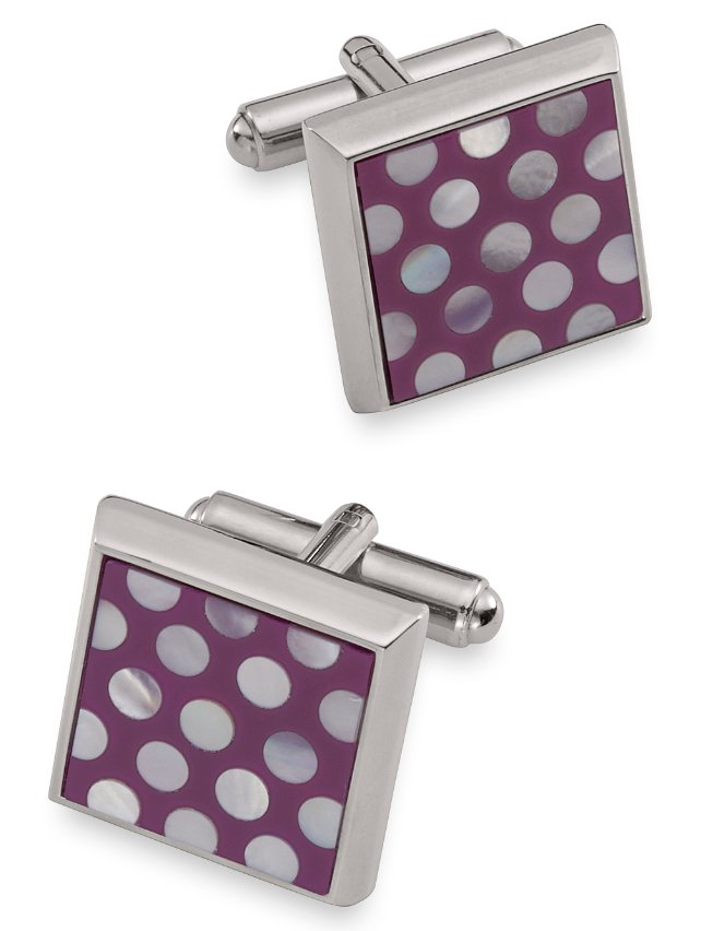 Mother Of Pearl Polka Dot Square Cufflink