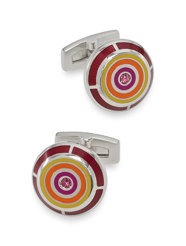 Enamel & Crystal Circle Cufflinks