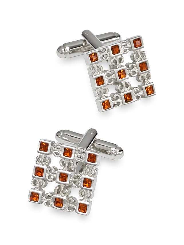 Crystal Studded Cutout Square Cufflinks