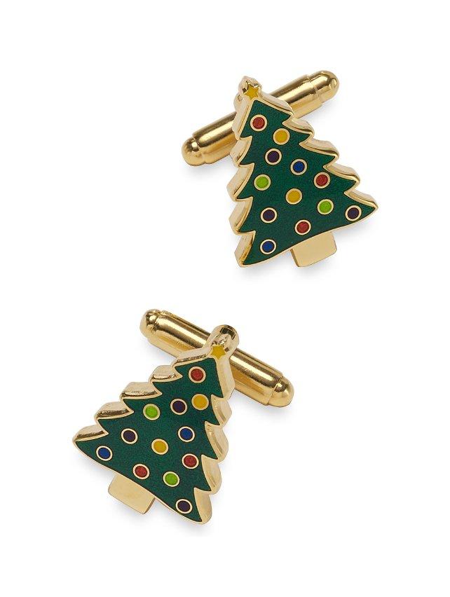 Enamel Christmas Tree Cufflinks