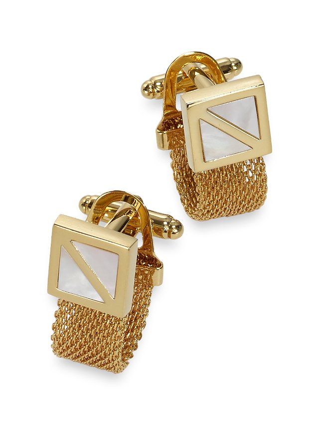 Mother-Of-Pearl Mesh Wrap Cufflinks