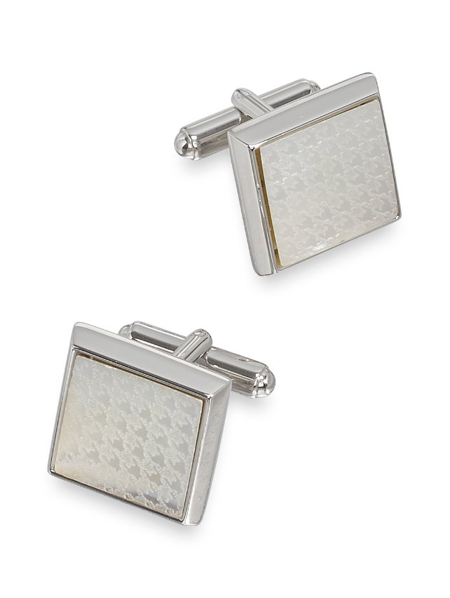 Mother-Of-Pearl Houndstooth Square Cufflinks