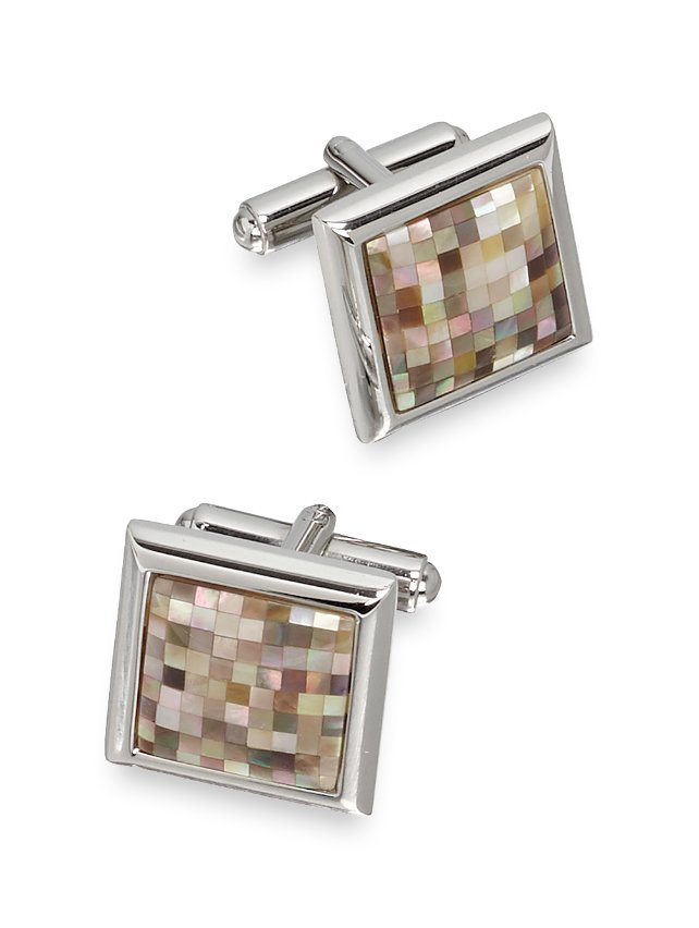 Mother-Of-Pearl Mosaic Square Cufflinks