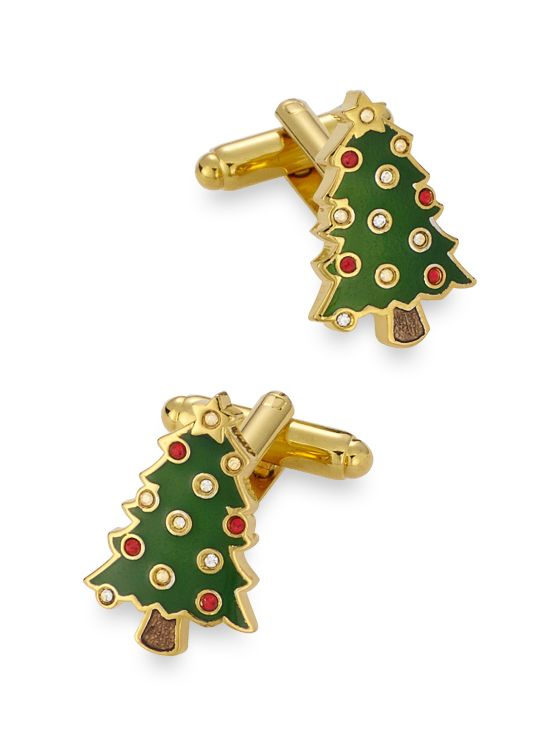 Swarovski Crystal & Enamel Christmas Tree Cufflinks