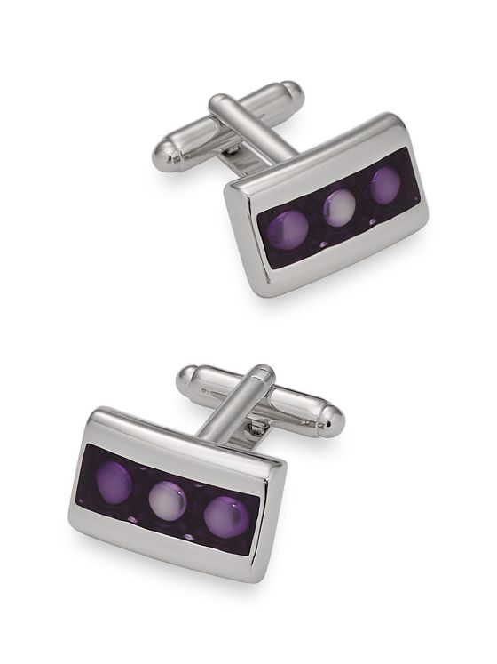 Enamel Dot Rectangle Cufflinks