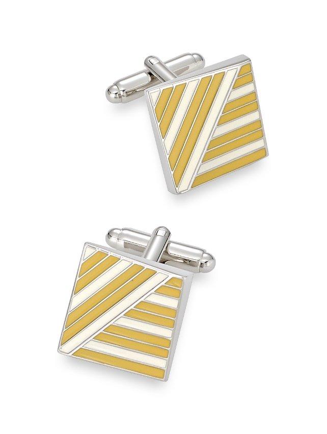 Enamel Striped Square Cufflinks