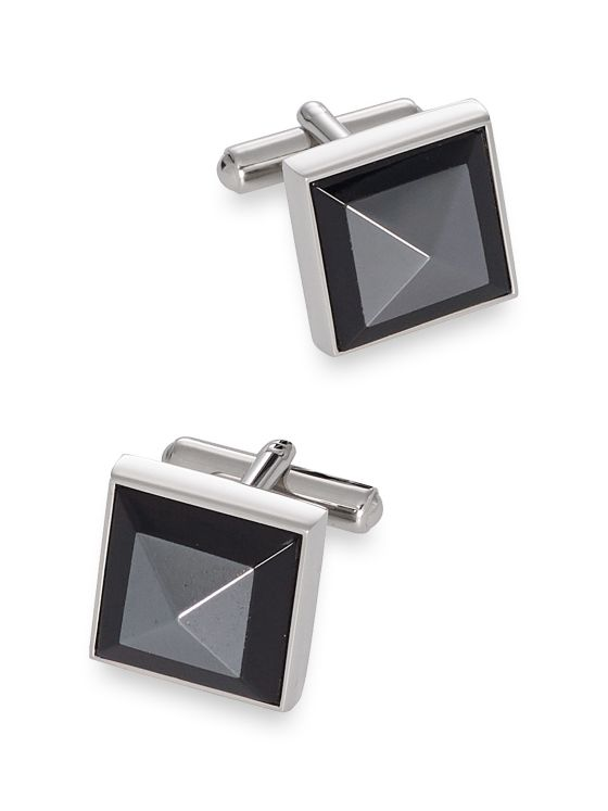 Onyx Pointed Square Cufflinks