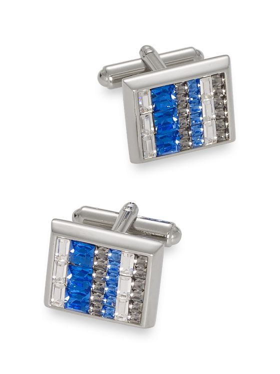 Swarovski Crystal Striped Cufflinks
