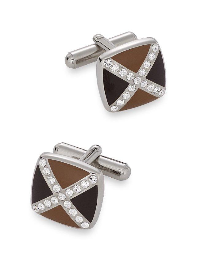 Swarovski Crystal & Enamel Crossed Square Cufflinks