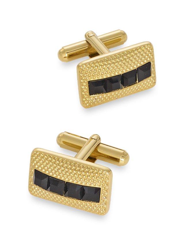 Swarovski Crystal Studded Rectangle Cufflinks
