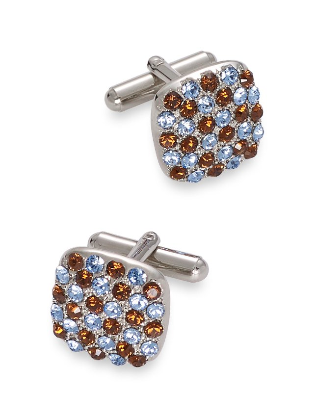 Swarovski Crystal Studded Square Cufflinks