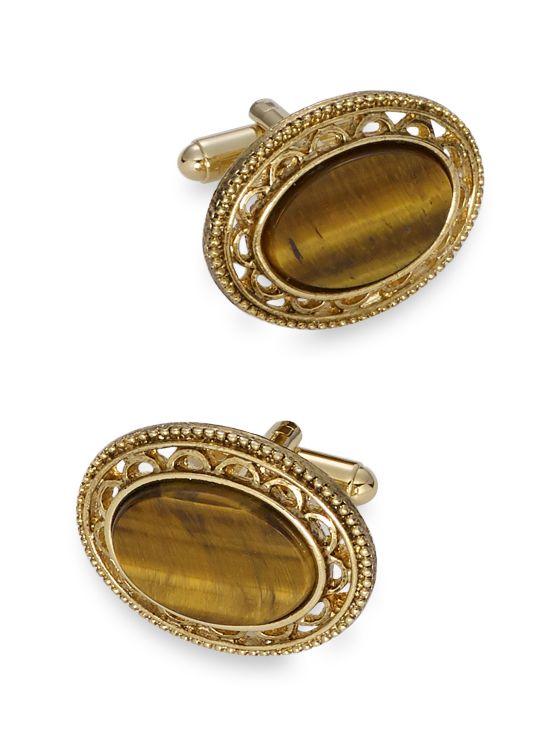 Tiger's Eye Oval Medallion Cufflinks