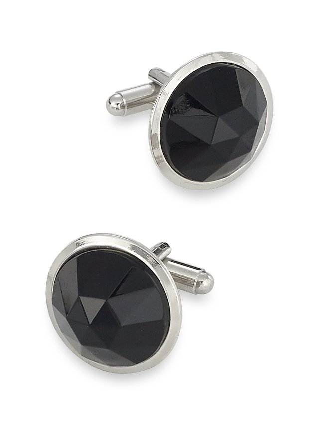 Faceted Circle Crystal Cufflinks