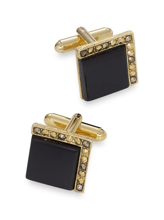 Crystal Bordered Onyx Square Cufflinks