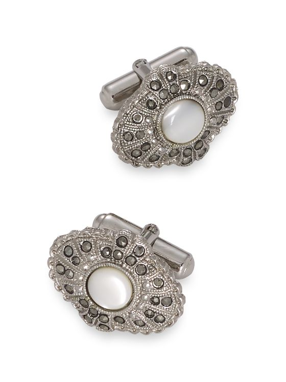 Crystal & Mother-Of-Pearl Cufflinks