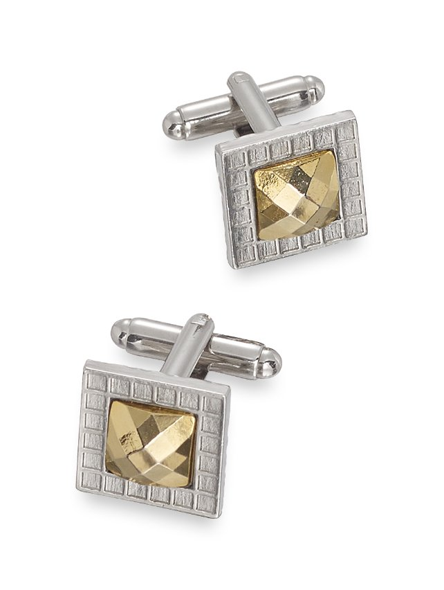 Faceted Metal Square Cufflinks