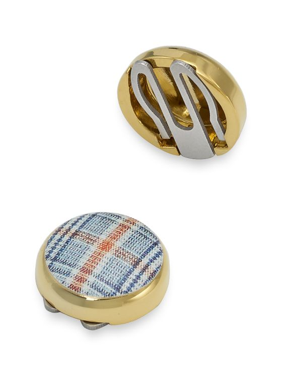 Enamel Plaid Button Covers
