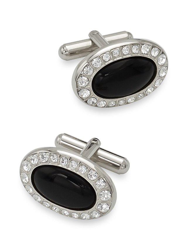 Swarovski Crystal & Onyx Oval Cufflinks