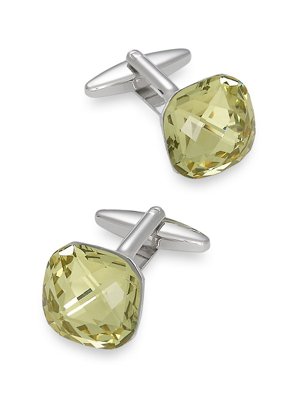 Faceted Crystal Cufflinks