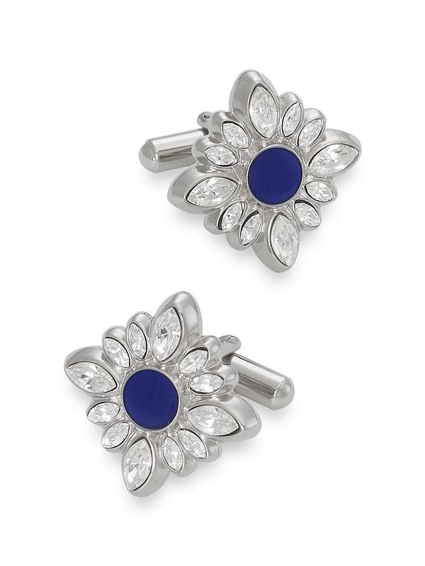 Swarovski Crystal & Enamel Medallion Cufflinks