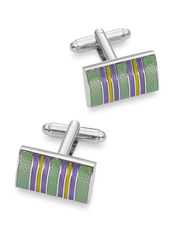 Textured Enamel Stripe Cufflink
