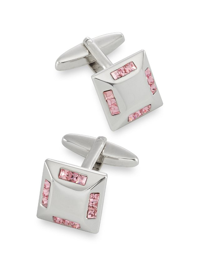 Crystal Embedded Square Cufflinks