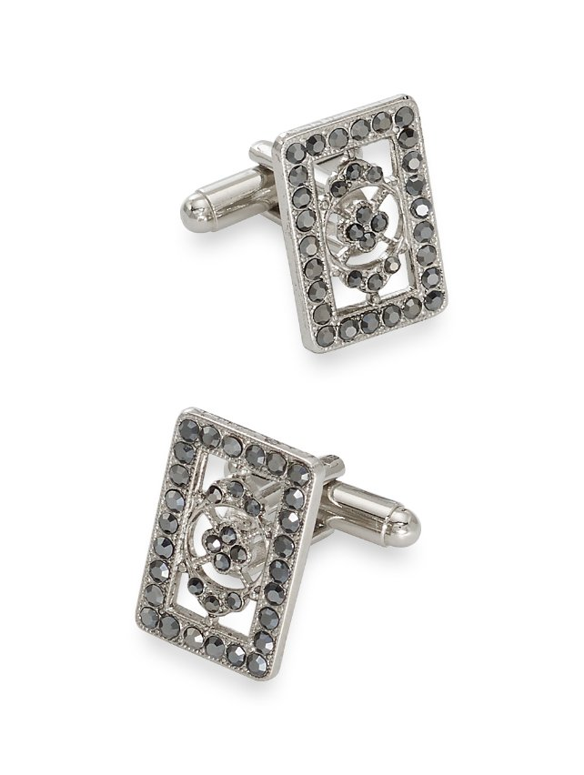 Crystal Bordered Medallion Cufflinks