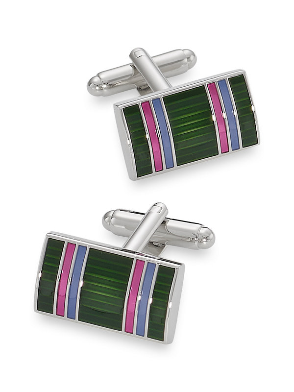 Enamel Striped Cufflink