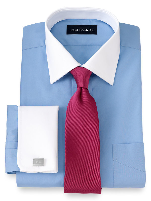Pure Cotton Broadcloth Solid Color White Spread Collar French Cuff Dress Shirt